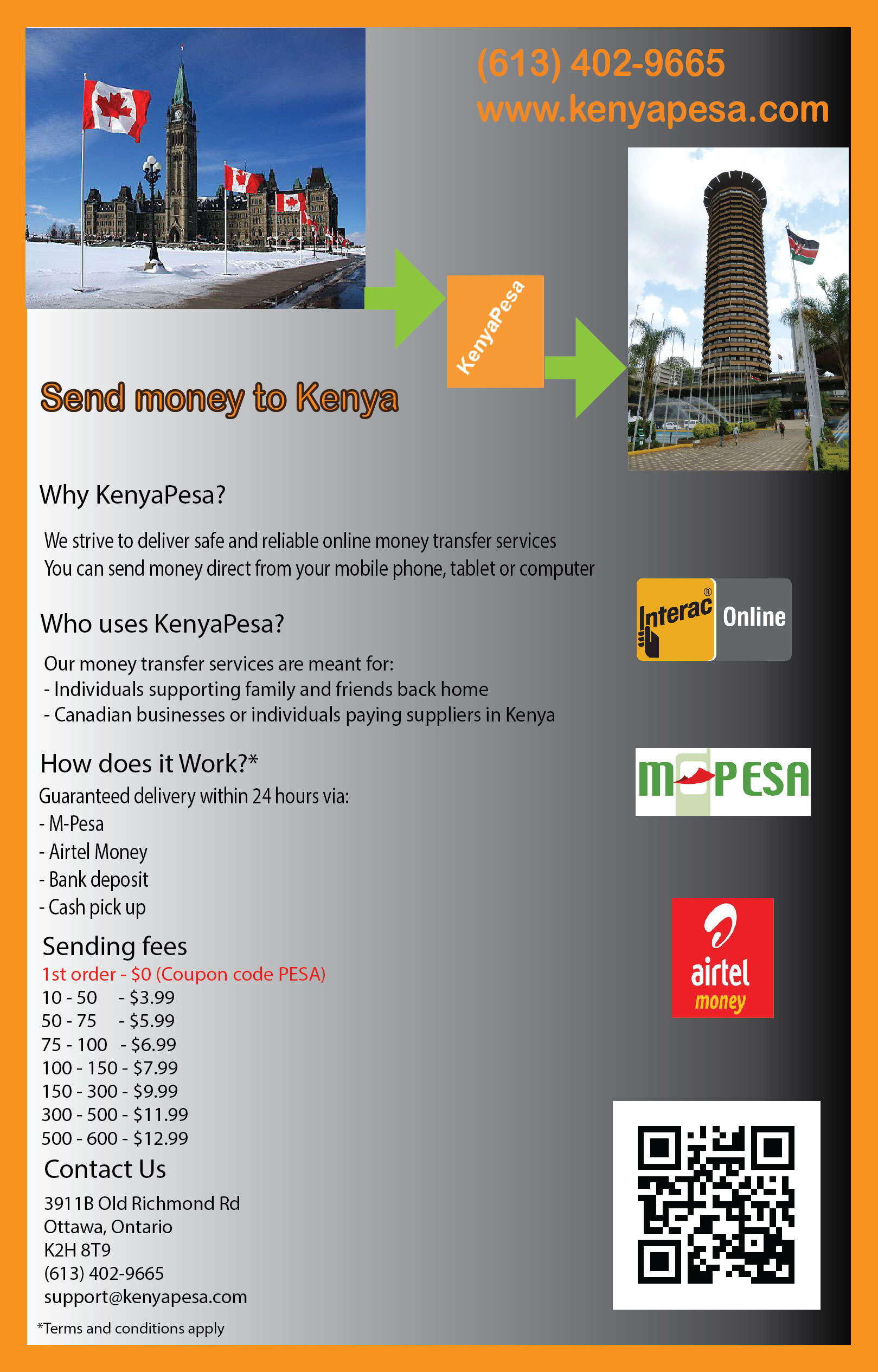 KenyaPesa Send Money to Kenya Fast Cheaply Flyer and Fees